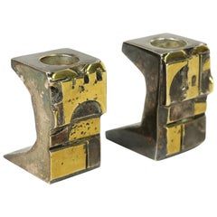Signed Pair of Brutalist Mixed Metal Candlesticks
