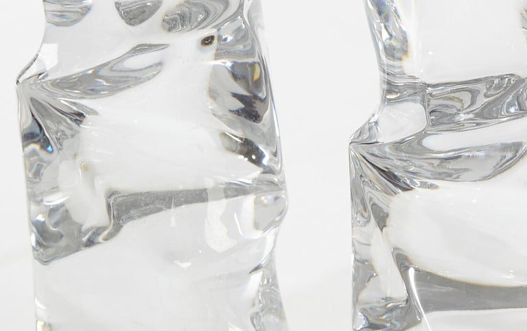 Mid-Century Modern Signed Pair of Massive Clear Crystal Orrefors Lamps, Olle Alberius, Sweden, 1970 For Sale