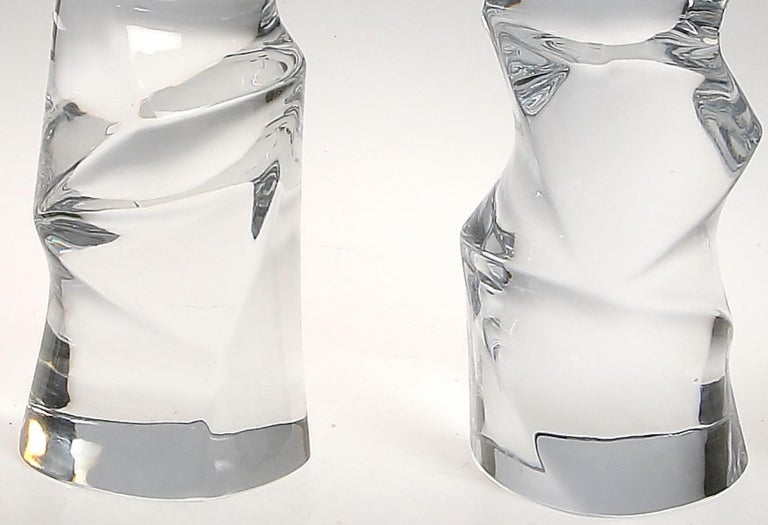 Swedish Signed Pair of Massive Clear Crystal Orrefors Lamps, Olle Alberius, Sweden, 1970 For Sale