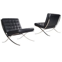 Signed Pair of Mid-Century Modern Knoll Barcelona Chairs by Mies van der Rohe