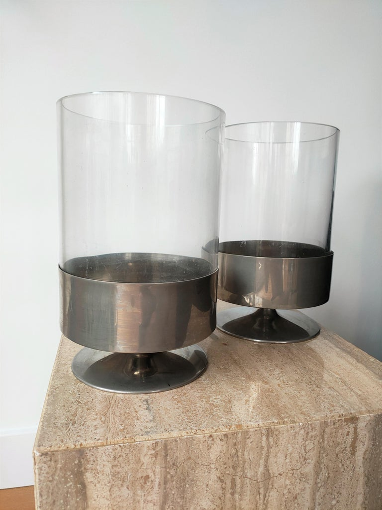 Signed Pair of Minimalist Candle Holders by Philippe Barbier, France 1970s For Sale 4