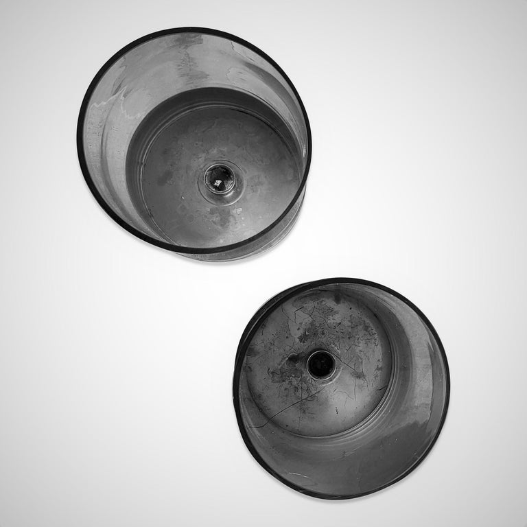 Signed Pair of Minimalist Candle Holders by Philippe Barbier, France 1970s For Sale 6