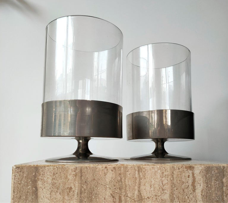 French Signed Pair of Minimalist Candle Holders by Philippe Barbier, France 1970s For Sale