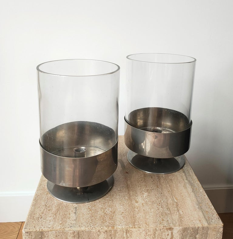 Plated Signed Pair of Minimalist Candle Holders by Philippe Barbier, France 1970s For Sale