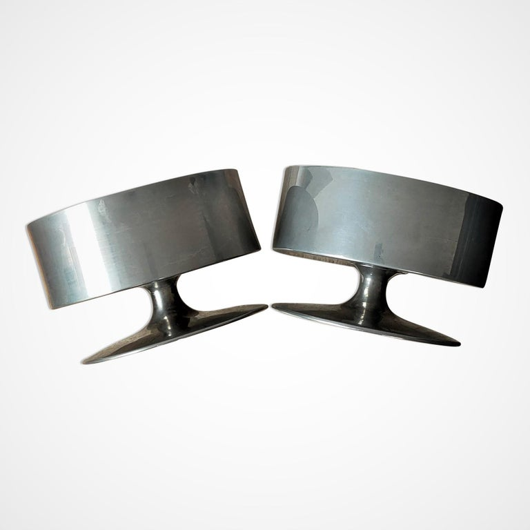 Brass Signed Pair of Minimalist Candle Holders by Philippe Barbier, France 1970s For Sale