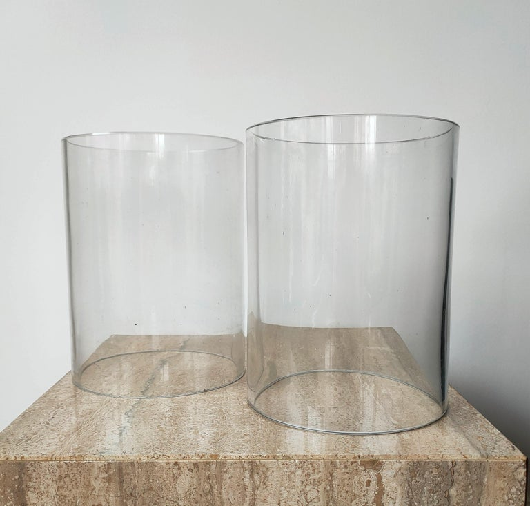 Signed Pair of Minimalist Candle Holders by Philippe Barbier, France 1970s For Sale 1