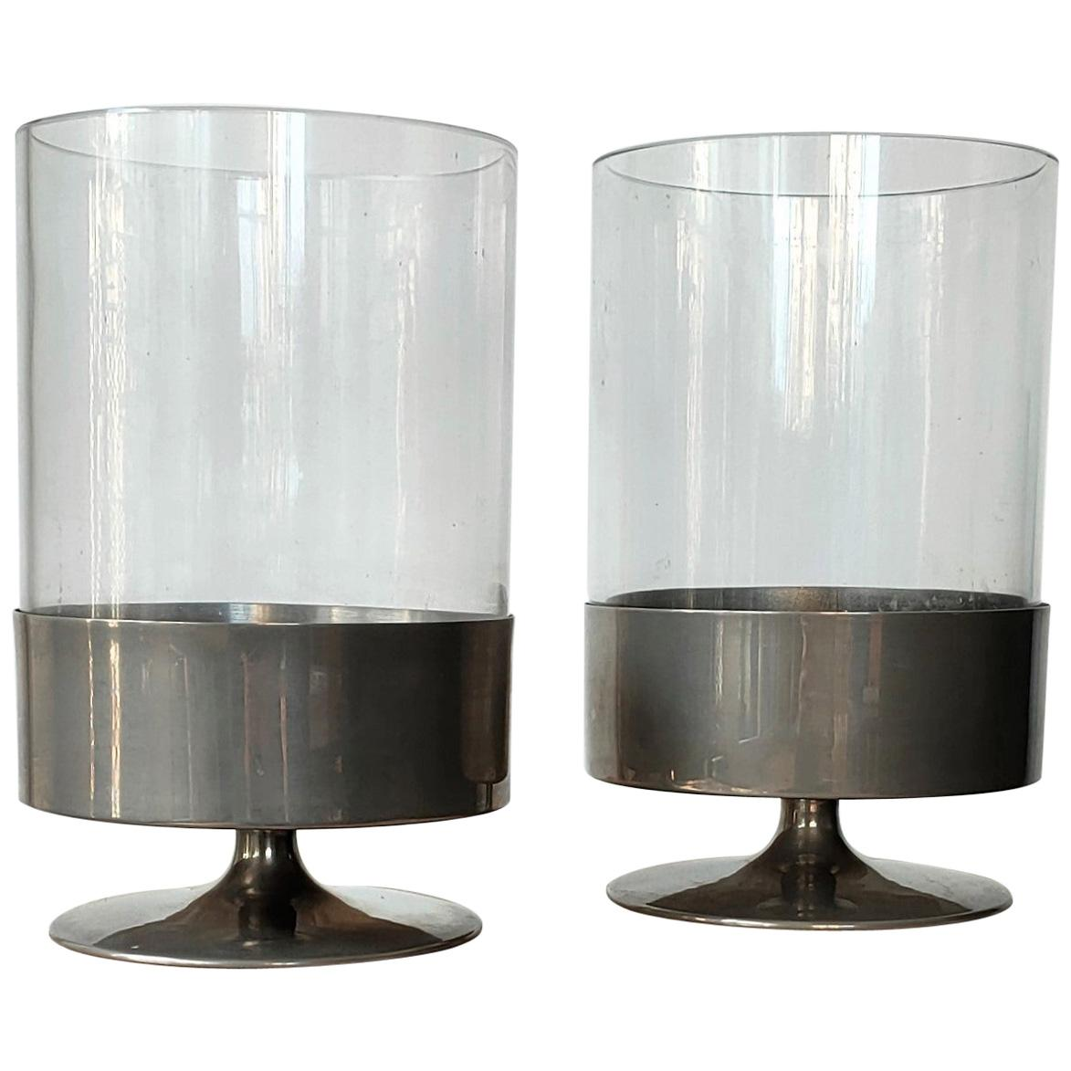 Signed Pair of Minimalist Candleholders by Philippe Barbier, France, 1970s