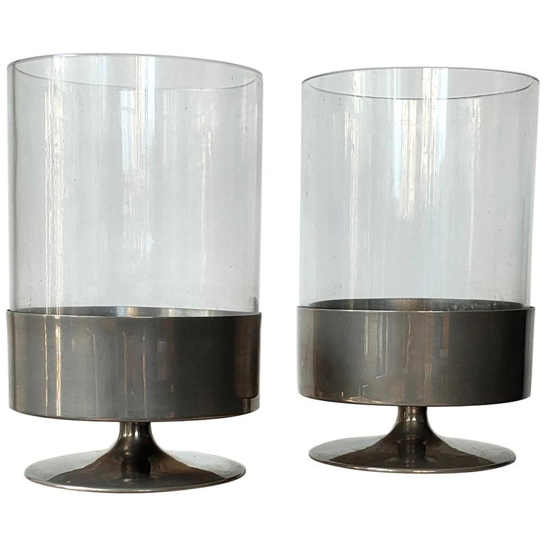 Signed Pair of Minimalist Candle Holders by Philippe Barbier, France 1970s For Sale