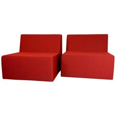"Signed Pair of Red Turnstone for Steelcase ""Campfire"" Modular Lounge Chairs"
