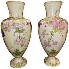 Signed Pair of Sevres 'Third Republic' Pate Nouvelle Pale Yellow Ground Vases
