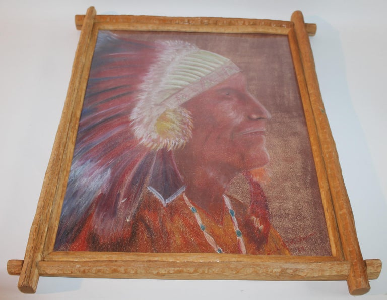 Name is Illegible and this water color pastel of a Indian chief is
