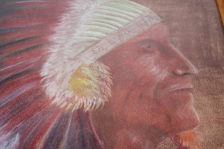 Adirondack Signed Pastel Water Color of a Indian Chief For Sale