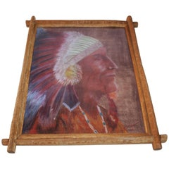 Signed Pastel Water Color of a Indian Chief