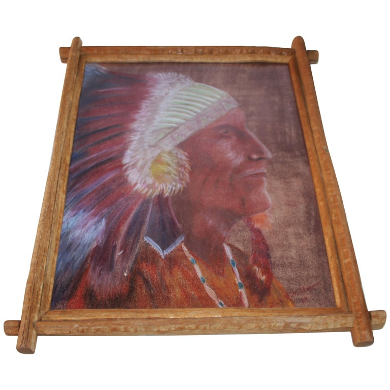 Signed Pastel Water Color of a Indian Chief For Sale