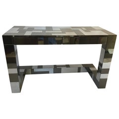 Signed Paul Evans Cityscape Bronze and Steel Two-Drawer Desk