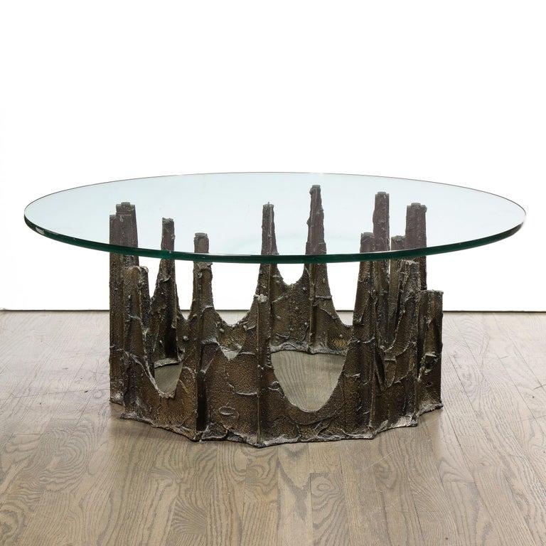 Mid-Century Modern Signed Paul Evans Midcentury Brutalist Bronze PE-128 Stalagmite Cocktail Table For Sale