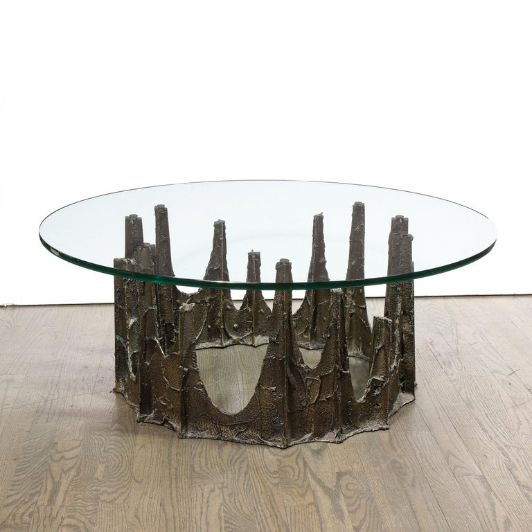 Signed Paul Evans Midcentury Brutalist Bronze PE-128 Stalagmite Cocktail Table In Excellent Condition For Sale In New York, NY
