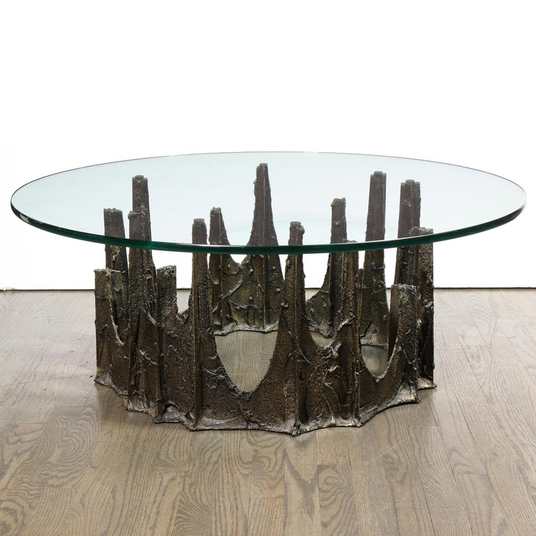 Signed Paul Evans Midcentury Brutalist Bronze PE-128 Stalagmite Cocktail Table For Sale 1