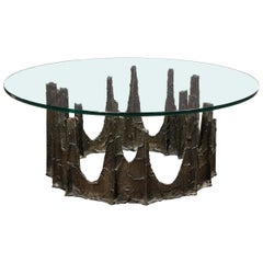 Signed Paul Evans Midcentury Brutalist Bronze PE-128 Stalagmite Cocktail Table