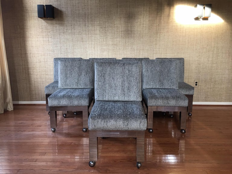 "Fabulous and rare set of eight Mid-Century Modern original PE-240 Paul Evans iconic city scape dining room side chairs for Directional, circa early 1970s, new hope, PA.  Original paper labels on bottom of seats of all eight chairs ""Paul Evans, Inc""."