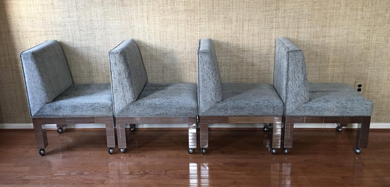 Paul Evans Original Cityscape Dining Chairs Chrome, Set of 8, Directional  In Good Condition For Sale In Lambertville, NJ