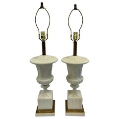 Signed Paul Hanson Carrara Carved Marble & Porcelain Table Lamps Made in Italy