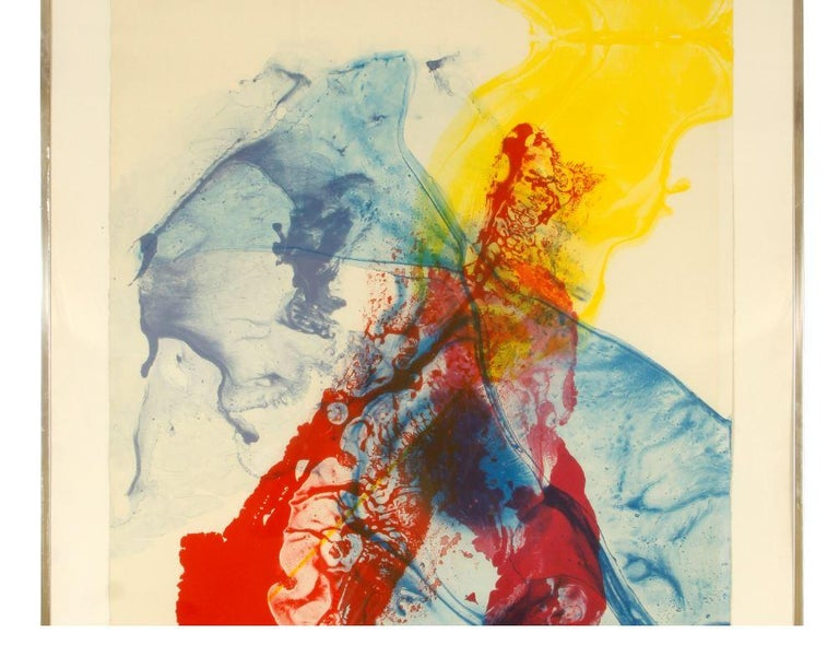 Paul Jenkins pencil signed lithograph and dated 1969 from edition of 300. Colorful in shades of red, yellow and blue.