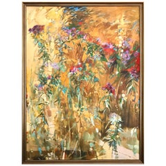 Signed Paul Zimmerman Large Mid Century Abstract Summer Floral Oil Painting