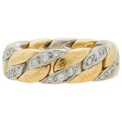 Signed Piaget 18 Karat Duo Tone Flexible Diamond Link Ring