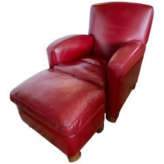 Signed Poltrona Frau Taberin Merlot Leather Chair & Matching Ottoman