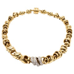Signed Pomellato Diamonds and Yellow Gold Circle Necklace