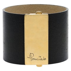 Signed Pomellato Leather Cuff Bracelet with Heavy 18 Karat Gold Buckle