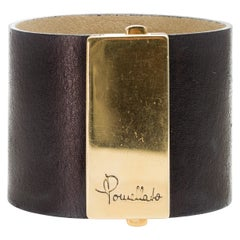 Signed Pomellato Leather Cuff Bracelet with Heavy 18K Gold Buckle, circa 1980