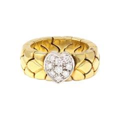 Signed Pomellato Semi Flexible Duo-Tone Diamond Heart Band Ring