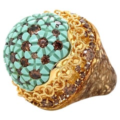 Signed Pomi Designer Resin and Diamond Gold Dome Ring Italy Estate Fine Jewelry