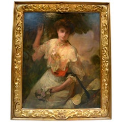 Signed Portrait of an Aristocratic Lady by Victorian Artist Laurence Koe