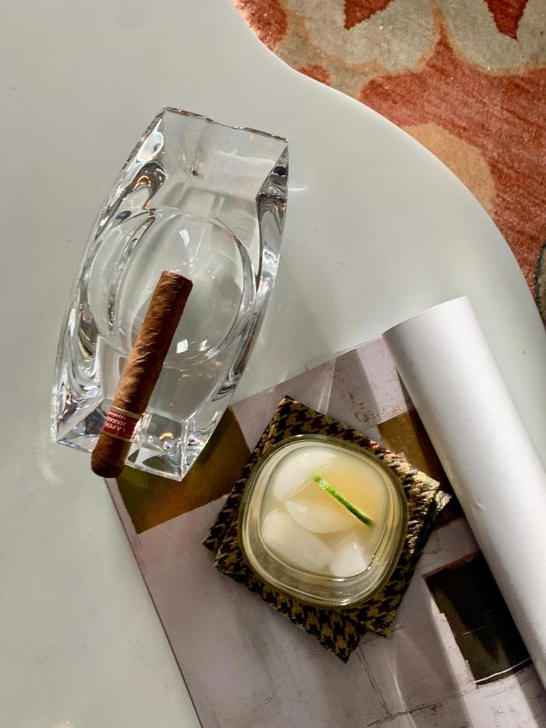 Modern Signed Prometheus Italian Cut Crystal Cigar 420 Dish For Sale