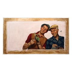 Signed Pulp Fiction Illustration Art Oil on Canvas of Golfers by Victor Olsen
