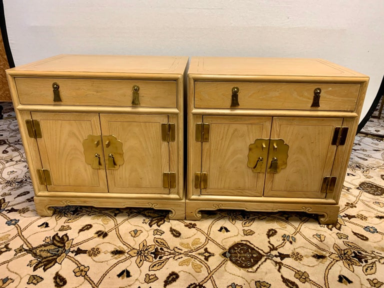 Mid-Century Modern Signed Ray Sabota for Century Furniture Pair of Nightstands End Tables For Sale