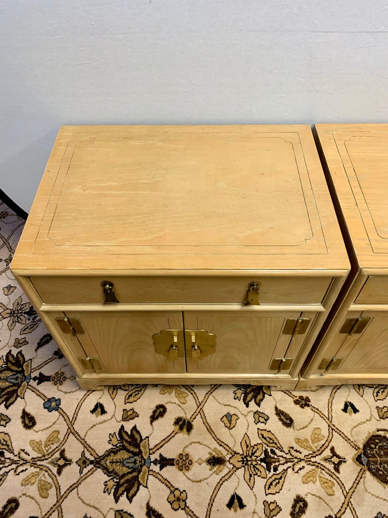 Brass Signed Ray Sabota for Century Furniture Pair of Nightstands End Tables For Sale