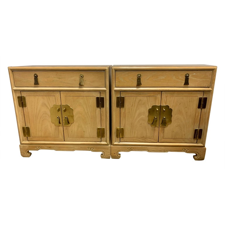 Signed Ray Sabota for Century Furniture Pair of Nightstands End Tables For Sale