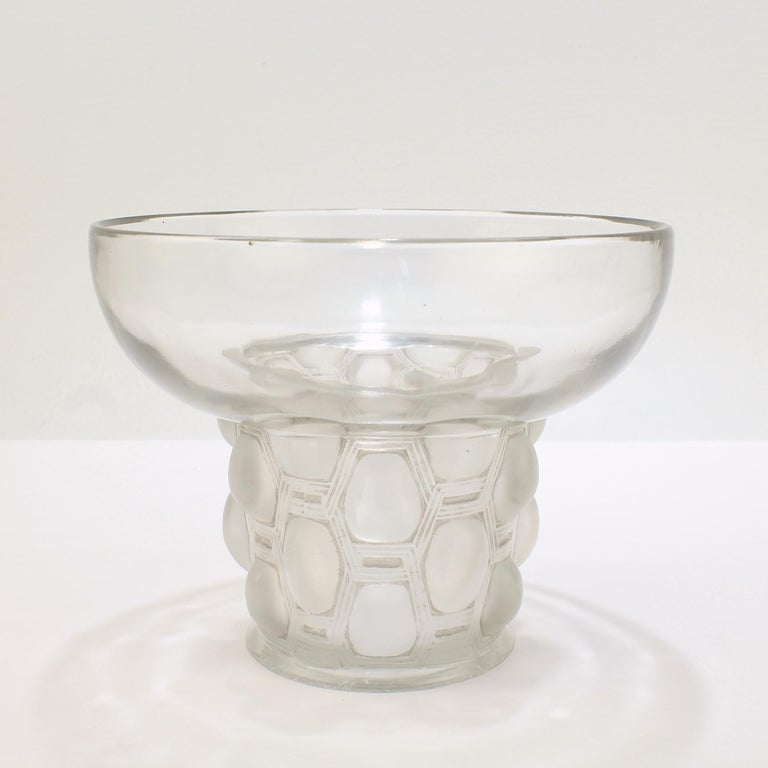 A fine, period Art Deco art glass vase by Lalique.   In the Beautreillis pattern.  With the traces of a gray patina on slightly gray-toned glass.  A wonderful period vase by Rene Lalique!   Date: Early 20th century  Overall condition: It