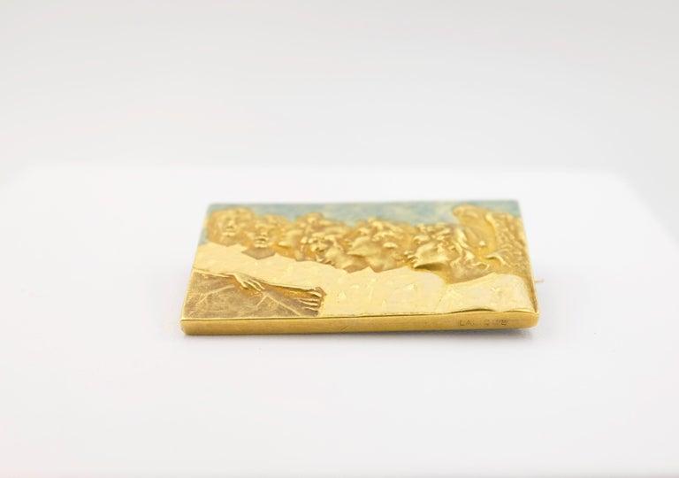Art Nouveau Signed Rene Lalique Singing Angels Enamel on Gold Brooch For Sale