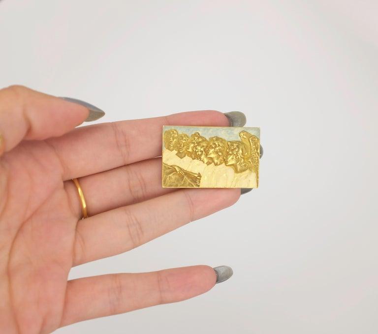 Women's or Men's Signed Rene Lalique Singing Angels Enamel on Gold Brooch For Sale