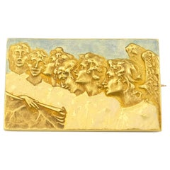 Signed Rene Lalique Singing Angels Enamel on Gold Brooch