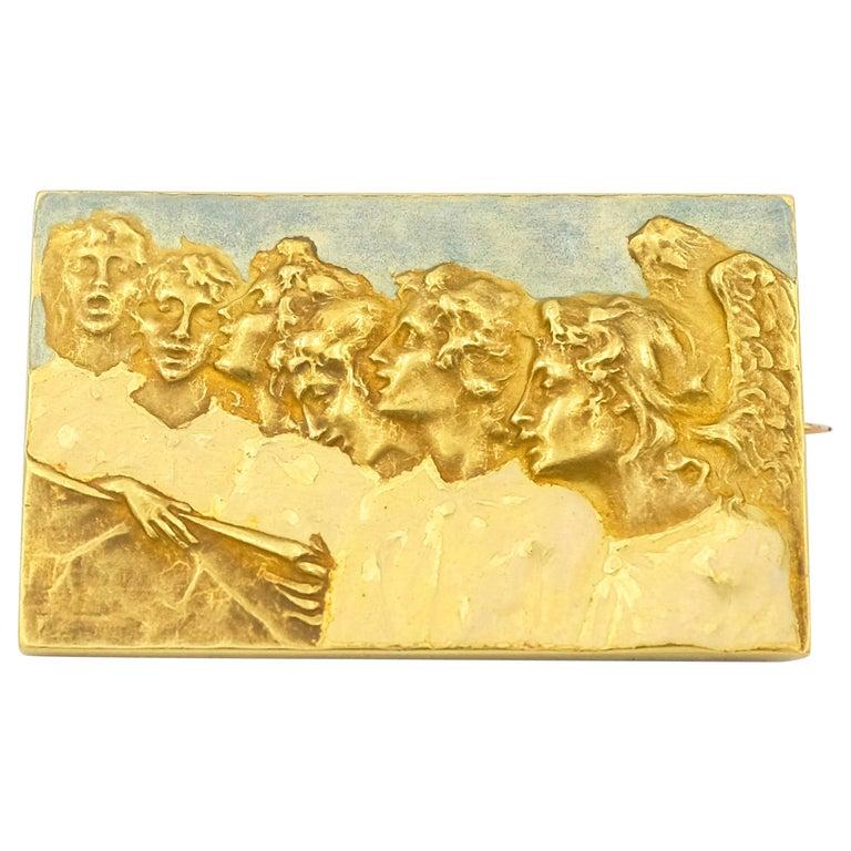Signed Rene Lalique Singing Angels Enamel on Gold Brooch For Sale