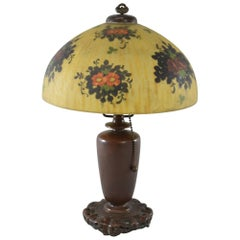 Signed Reverse Painted Boudoir Lamp by Handel with Floral Scene