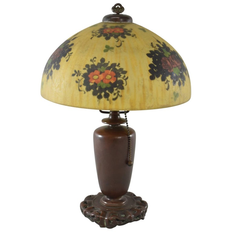 Signed Reverse Painted Boudoir Lamp by Handel with Floral Scene For Sale