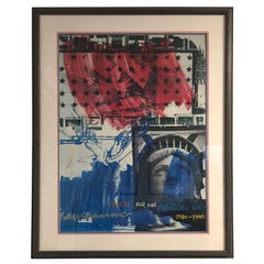 """Signed Robert Raushcenberg Print """"People for the American Way 1980 1990"""""""