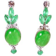 Signed Robert Sorrell Green & Clear Crystal Dangling Earrings